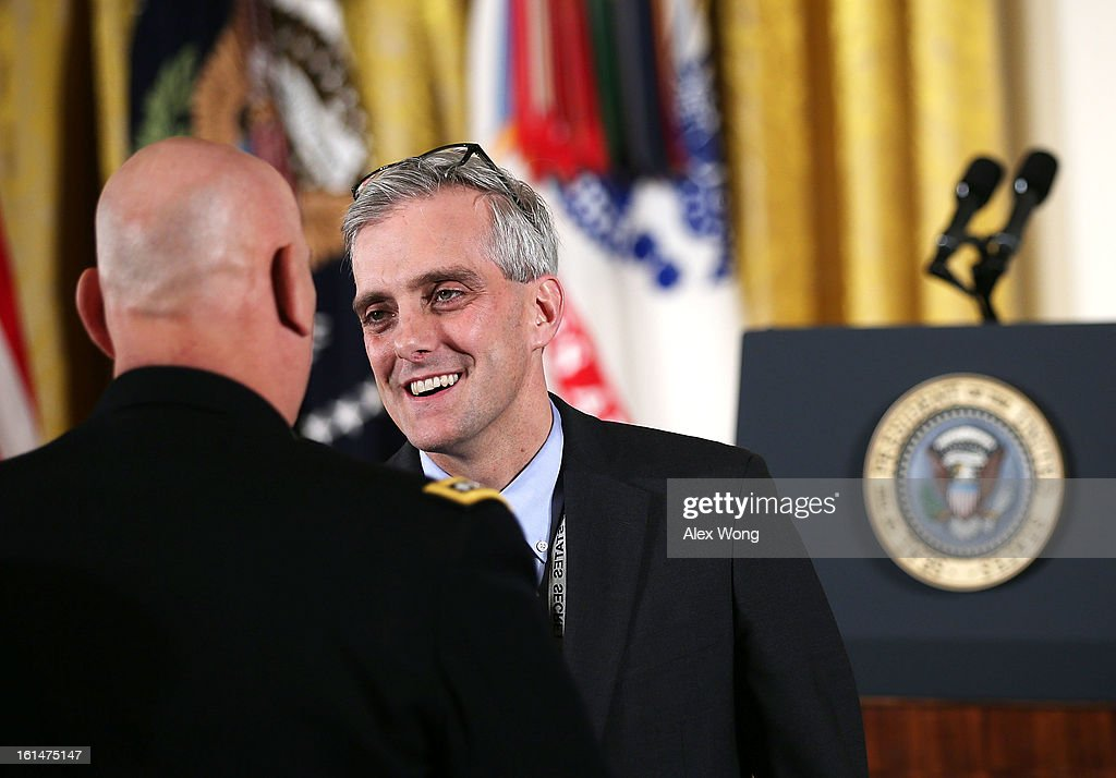 White House Chief of Staff Denis McDonough talks during the presentation of the Medal of Honor for conspicuous gallantry for Clinton Romesha at the White House February 11, 2013 in Washington, DC. Romesha received the Medal of Honor for actions during combat operations against an armed enemy at Combat Outpost Keating, Kamdesh District, Nuristan Province, Afghanistan on October 3, 2009.