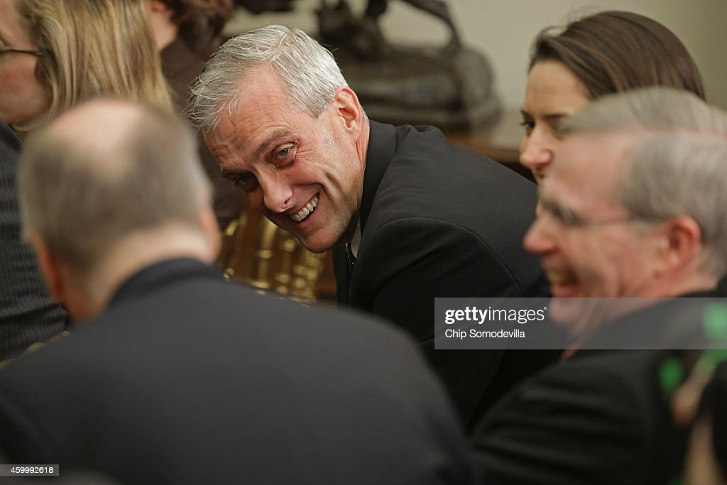 White House Chief of Staff <a gi-track='captionPersonalityLinkClicked' href=/galleries/search?phrase=Denis+McDonough&family=editorial&specificpeople=5759820 ng-click='$event.stopPropagation()'>Denis McDonough</a> (C) talks with former national security advisors <a gi-track='captionPersonalityLinkClicked' href=/galleries/search?phrase=Tom+Donilon&family=editorial&specificpeople=4012503 ng-click='$event.stopPropagation()'>Tom Donilon</a> (L) and Stephen Hadley before U.S. President Barack Obama announces his nomination of Ashton Carter to be the next Defense Secretary in the Roosevelt Room at the White House December 5, 2014 in Washington, DC. Carter, who served as the second in charge at the Pentagon under both secretaries Leon Panetta and Chuck Hagel, is expected to face a smooth confirmation process in the U.S. Senate.