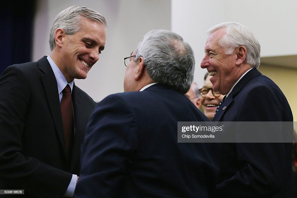 White House chief of staff <a gi-track='captionPersonalityLinkClicked' href=/galleries/search?phrase=Denis+McDonough&family=editorial&specificpeople=5759820 ng-click='$event.stopPropagation()'>Denis McDonough</a> (L) talks with Rep. G.K. Butterfield (D-NC), Rep. <a gi-track='captionPersonalityLinkClicked' href=/galleries/search?phrase=Steny+Hoyer&family=editorial&specificpeople=588093 ng-click='$event.stopPropagation()'>Steny Hoyer</a> (D-MD) and Sen. <a gi-track='captionPersonalityLinkClicked' href=/galleries/search?phrase=Al+Franken&family=editorial&specificpeople=167079 ng-click='$event.stopPropagation()'>Al Franken</a> (D-MN) before a signing ceremony for The Every Student Succeeds Act in the Eisenhower Executive Office Building December 10, 2015 in Washington, DC. According to the White House, the new law is supposed to eliminate the 'one-size-fits-all mandates' of the unpopular 2001 No Child Left Behind Act.