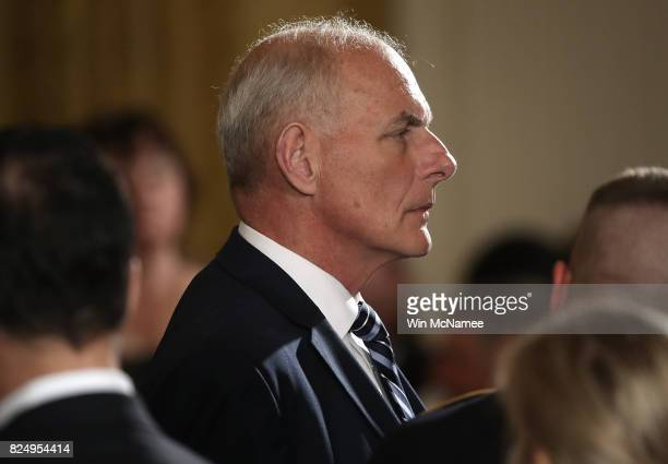 White House Chief of Staff Gen John Kelly attends a ceremony where US President Donald Trump presented the Medal of Honor to former Army Specialist...