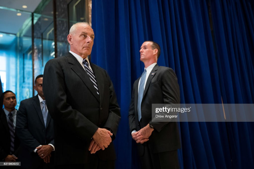 White House Chief of Staff Gen. John Kelly looks on as President Donald Trump speaks following a meeting on infrastructure at Trump Tower, August 15, 2017 in New York City. He fielded questions from reporters about his comments on the events in Charlottesville, Virginia and white supremacists.
