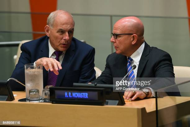 White House Chief of Staff John Kelly and National Security Advisor HR McMaster attend a meeting on United Nations Reform at the UN headquarters in...