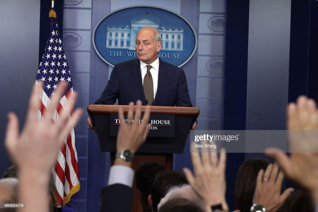 White House Chief of Staff John Kelly pauses during a daily news briefing at the James Brady Press Briefing Room of the White House October 12, 2017 in Washington, DC. In a rare appearance at the news briefing Kelly stated he had no plans to resign or reason to believe he would be fired.