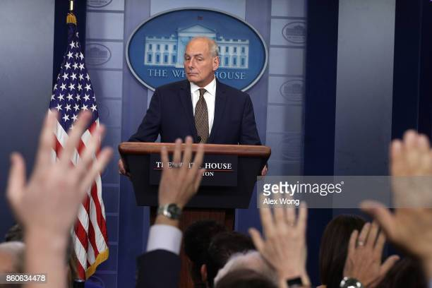 White House Chief of Staff John Kelly pauses during a daily news briefing at the James Brady Press Briefing Room of the White House October 12 2017...