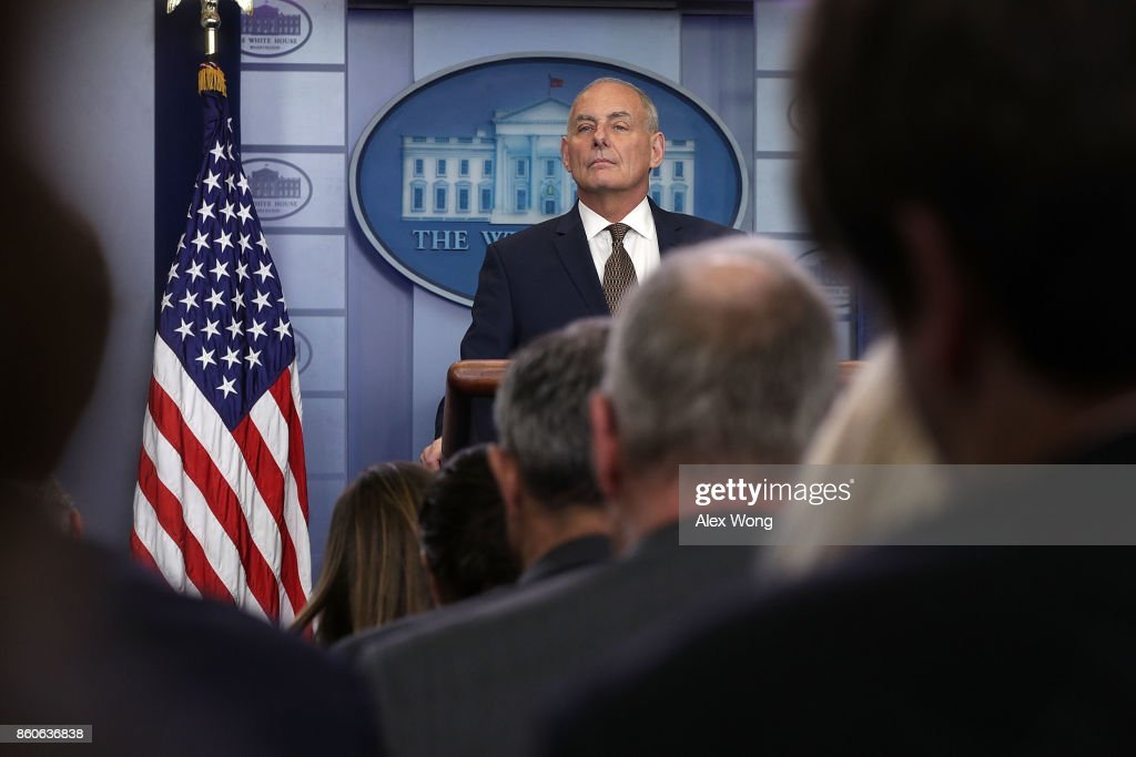 White House Chief of Staff John Kelly pauses during a daily news briefing at the James Brady Press Briefing Room of the White House October 12, 2017 in Washington, DC. In a rare appearance at the news briefing Kelly stated he had no plans to resign or had reason to believe he would be fired.