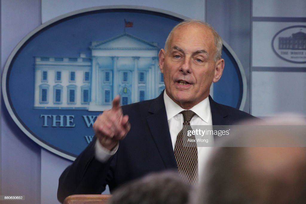 White House Chief of Staff John Kelly speaks during a daily news briefing at the James Brady Press Briefing Room of the White House October 12, 2017 in Washington, DC. In a rare appearance at the news briefing Kelly stated he had no plans to resign or reason to believe he would be fired.