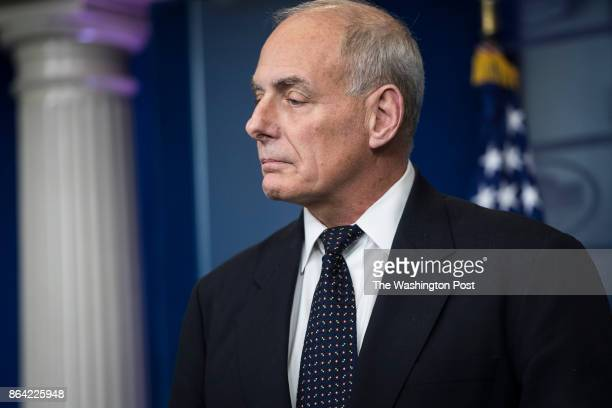White House Chief of Staff John Kelly takes questions and talks about his son during the daily press briefing at the White House in Washington DC on...
