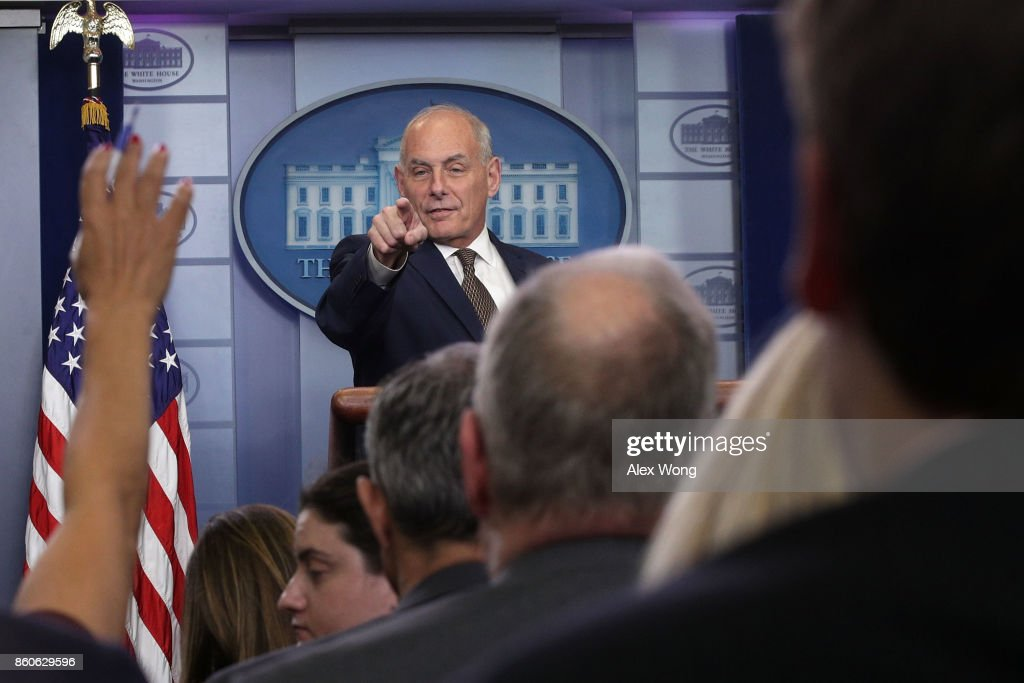 White House Chief of Staff John Kelly takes questions during a daily news briefing at the James Brady Press Briefing Room of the White House October 12, 2017 in Washington, DC. In a rare appearance Kelly stated he had no plans to resign or reason to believe he would be fired.