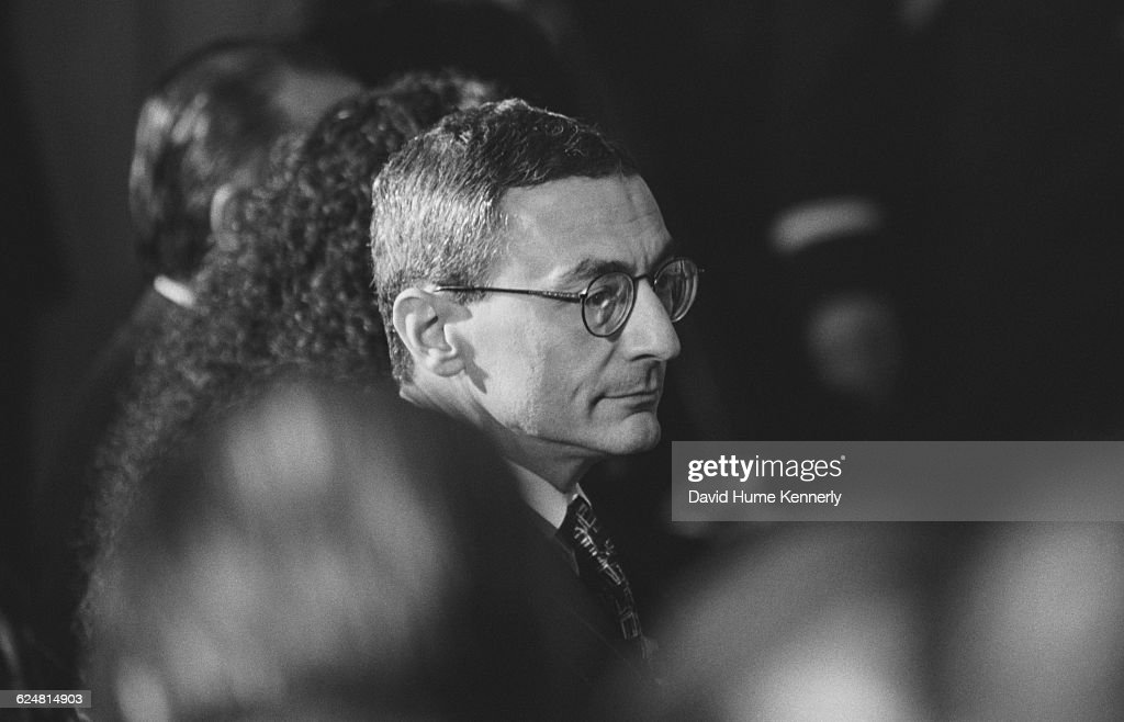 White House Chief of Staff <a gi-track='captionPersonalityLinkClicked' href=/galleries/search?phrase=John+Podesta&family=editorial&specificpeople=209397 ng-click='$event.stopPropagation()'>John Podesta</a> at a diplomatic reception for Argentinian President Carlos Menem at the White House on January 11, 1999.