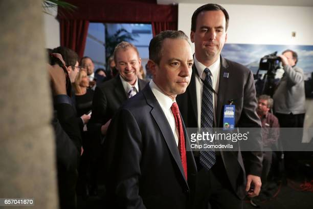 White House Chief of Staff Reince Priebus and Office of Management and Budget Director Mick Mulvaney leave a meeting of the House Republican caucus...