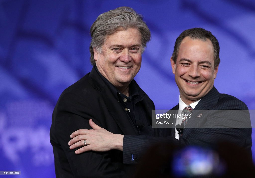 White House Chief of Staff Reince Priebus (R) and White House Chief Strategist Steve Bannon (L) arrive on stage for a conversation during the Conservative Political Action Conference at the Gaylord National Resort and Convention Center February 23, 2017 in National Harbor, Maryland. Hosted by the American Conservative Union, CPAC is an annual gathering of right wing politicians, commentators and their supporters.