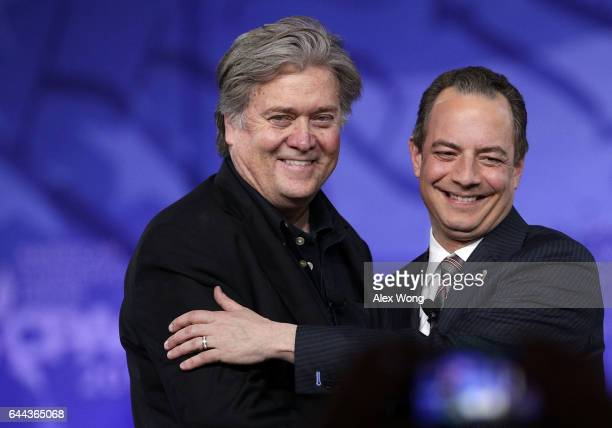 White House Chief of Staff Reince Priebus and White House Chief Strategist Steve Bannon arrive on stage for a conversation during the Conservative...
