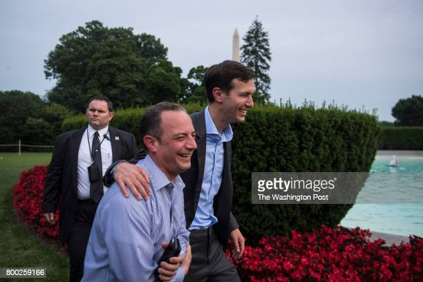 White House Chief of Staff Reince Priebus and White House Senior Adviser Jared Kushner walk together during the Congressional Picnic on the South...