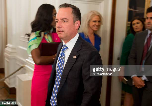 White House Chief of Staff Reince Priebus arrives for an event where US President Donald Trump will present the Medal of Valor to the first...