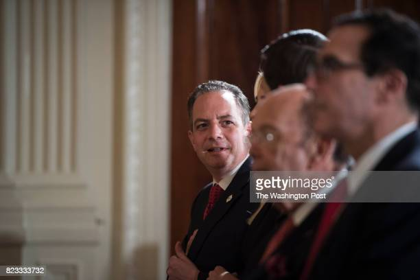 White House Chief of Staff Reince Priebus talks with others before President Donald Trump announces the first US assembly plant for electronics giant...