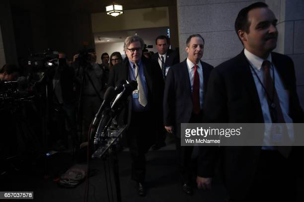 S White House Chief Strategist Steve Bannon and White House Chief of Staff Reince Priebus walk to a meeting of the House Republican caucus at the US...