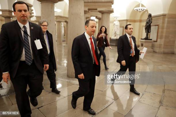 White House Chief Strategist Steve Bannon and White House Chief of Staff Reince Priebus leave a meeting of the House Republican caucus at the US...