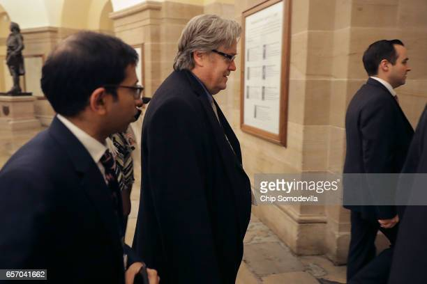 White House Chief Strategist Steve Bannon leaves a meeting of the House Republican caucus at the US Capitol March 23 2017 in Washington DC Bannon...