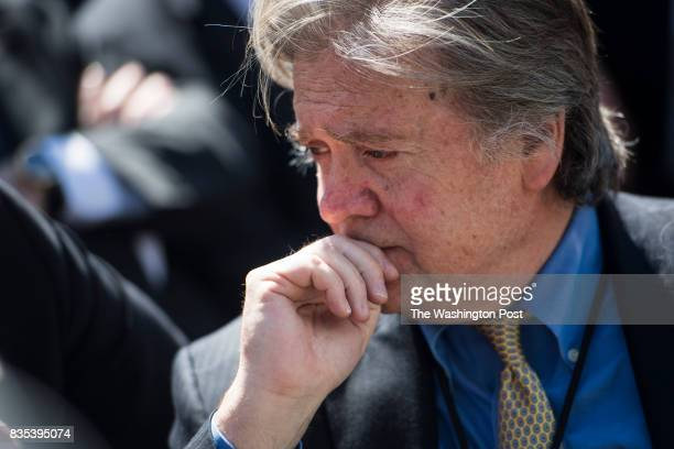 White House chief strategist Steve Bannon talks with others before President Donald Trump Supreme Court Justice Neil Gorsuch his wife Marie Louise...