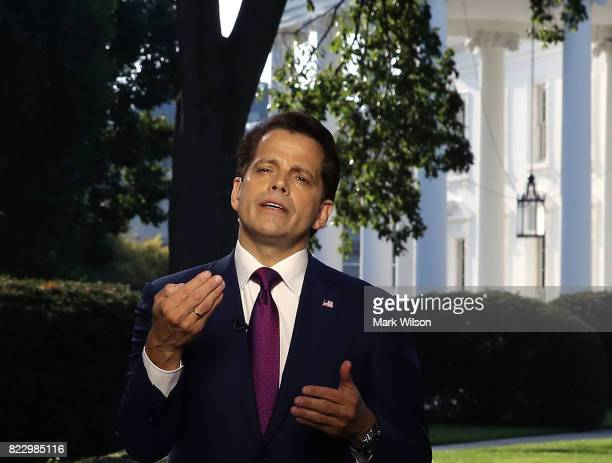 White House Communications Director Anthony Scaramucci speaks on a morning television show from the north lawn of the White House on July 26 2017 in...