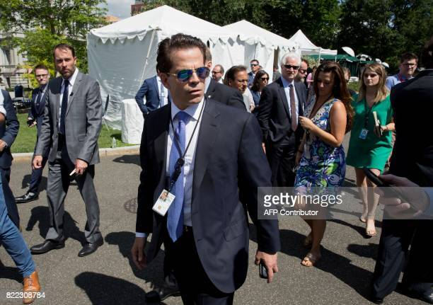 White House Communications Director Anthony Scaramucci talks with the media outside the White House in Washington DC on July 25 2017 / AFP PHOTO /...