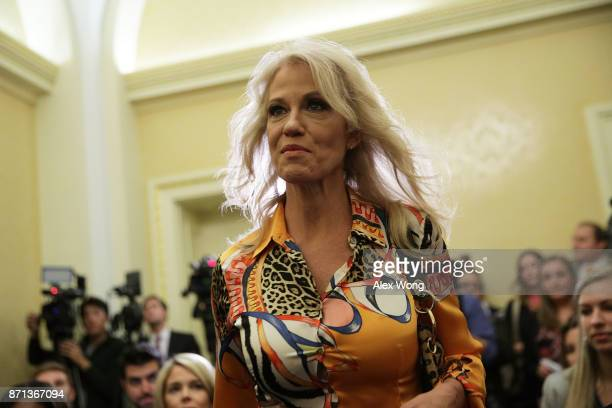 White House Counselor Kellyanne Conway arrives at a news conference on tax reform November 7 2017 on Capitol Hill in Washington DC Senate Republicans...