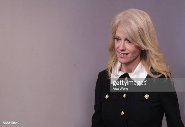 White House Counselor Kellyanne Conway enters the James Brady Press Briefing Room of the White House prior to a White House daily briefing March 14...