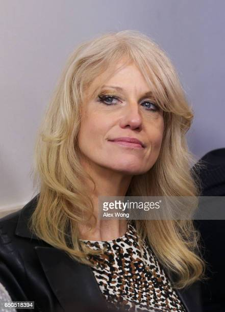White House Counselor Kellyanne Conway listens during the daily White House press briefing at the James Brady Press Briefing Room of the White House...