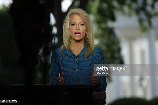 White House Counselor Kellyanne Conway participates in an interview with CNN at the White House May 10 2017 in Washington DC FBI Director James Comey...