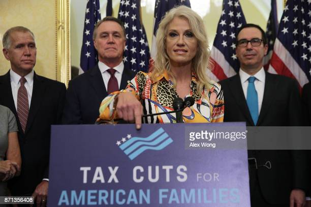 White House Counselor Kellyanne Conway speaks as US Sen Thom Tillis Sen David Perdue and Secretary of the Treasury Steven Mnuchin listen during a...