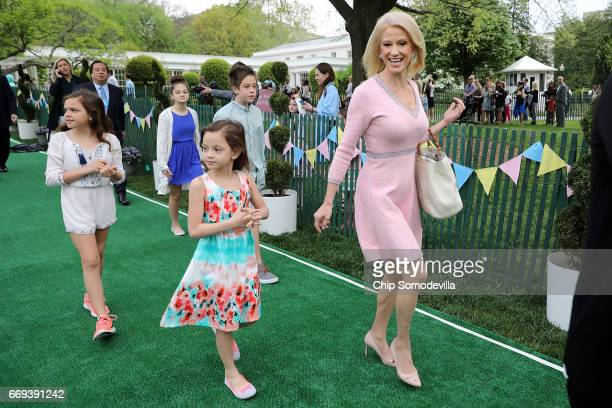 White House Counselor to the President Kellyanne Conway and her family arrive for the 139th Easter Egg Roll on the South Lawn of the White House...