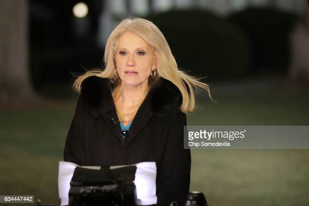 White House Counselor to the President Kellyanne Conway is interviewed by FOX News on the north side of the White House February 9 2017 in Washington...
