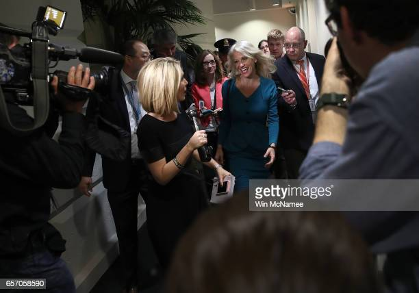 White House counselor to the President Kellyanne Conway leaves a meeting of the House Republican caucus at the US Capitol March 23 2017 in Washington...