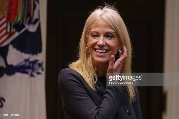 White House Counselor to the President Kellyanne Conway waits for the arrival of US President Donald Trump for a meeting on cyber security in the...
