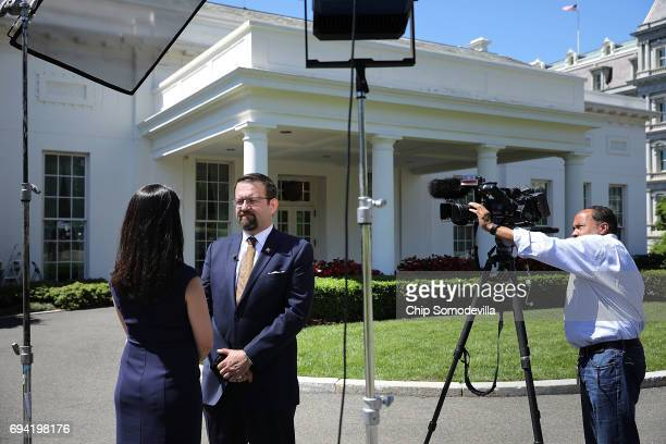 White House Deputy Assistant To The President Sebastian Gorka participates in a television interview outside the White House West Wing June 9 2017 in...