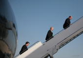 White House Deputy Chief of Staff Joe Hagen Chief Political Advisor Karl Rove and White House Communications Director Kevin Sullivan board Air Force...