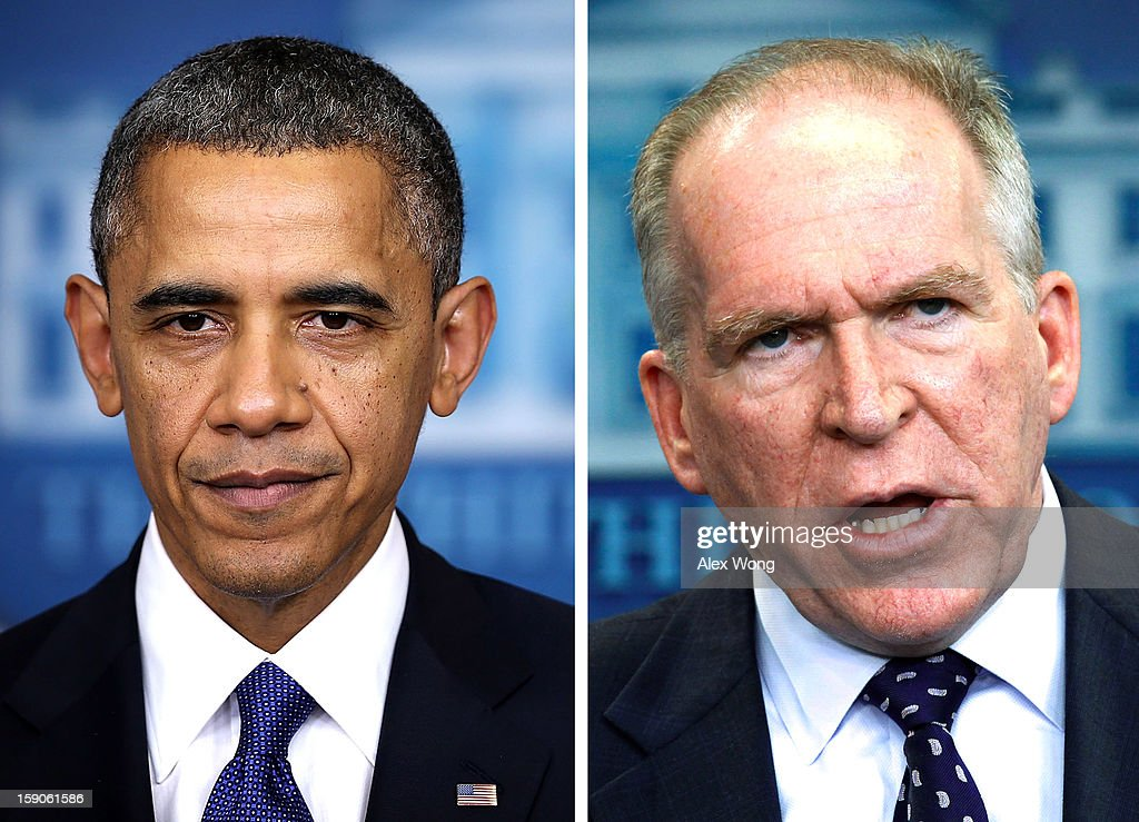 In this composite image a comparison has been made between US President Barack Obama (L) and John Brennan. Obama will reportedly nominate top counterterrorism adviser John Brennan for the next director of the Central Intelligence Agency replacing David Petraeus after he resigned as CIA director. WASHINGTON, DC - MAY 02: White House Deputy National Security Advisor for Homeland Security and Counterterrorism John Brennan answers reporters' questions in the Brady Press Briefing room at the White House May 2, 2011 in Washington, DC. 'We got him,' Brennan said when describing the feeling in the White House Situation Room after the United States was successful in killing the terrorist Osama Bin Laden in Pakistan.