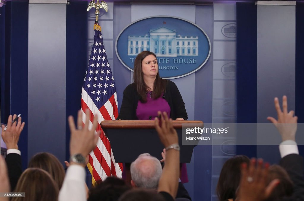 White House deputy press secretary Sarah Huckabee Sanders, conducts her press briefing at the James Brady Press Briefing Room on July 19, 2017 in Washington, DC. Sanders fielded various questions from reporters including President Donald Trump's bid to repeal the Affordable Care Act.