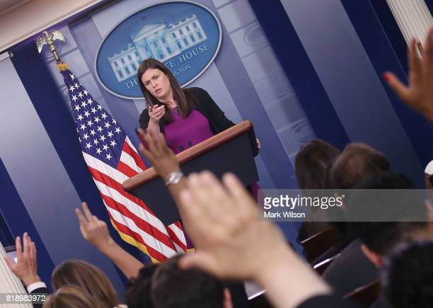 White House deputy press secretary Sarah Huckabee Sanders conducts her press briefing at the James Brady Press Briefing Room on July 19 2017 in...
