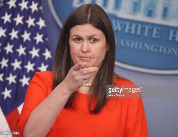 White House Deputy Press Secretary Sarah Huckabee Sanders takes a question during the press briefing on July 11 2017 in Washington DC Sanders fielded...