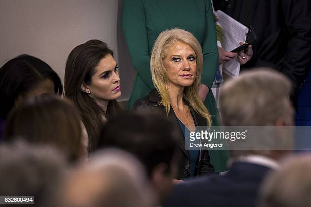 White House Director of Strategic Communications Hope Hicks and Counselor to the President Kellyanne Conway look on during the daily press briefing...
