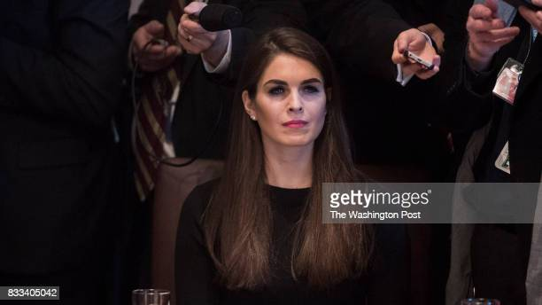 White House Director of Strategic Communications Hope Hicks listens as President Donald Trump and Canadian Prime Minister Justin Trudeau host a...