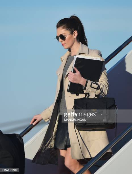 White House Director of Strategic Communications Hope Hicks steps off Air Force One on February 6 2017 upon arrival at Andrews Air Force Base in...