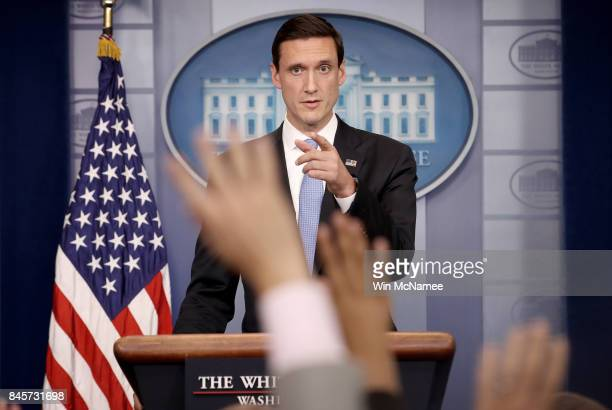 White House Homeland Security Advisor Tom Bossert answers questions during a White House briefing September 11 2017 in Washington DC Bossert provided...