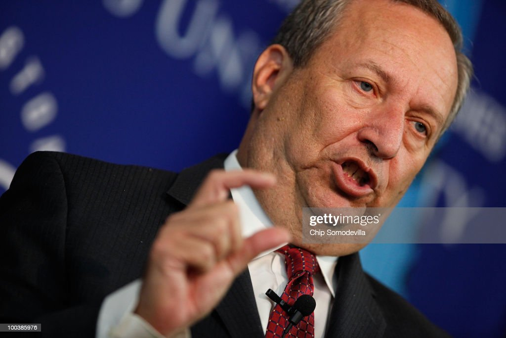 White House National Economic Council Director <a gi-track='captionPersonalityLinkClicked' href=/galleries/search?phrase=Lawrence+Summers&family=editorial&specificpeople=224698 ng-click='$event.stopPropagation()'>Lawrence Summers</a> delivers remarks at the Johns Hopkins University Paul H. Nitze School of Advanced International Studies May 24, 2010 in Washington, DC. Assistant to U.S. President Barack Obama for economic policy, Summers addressed the audience about his 'Reflections on Fiscal Policy and Economic Strategy.'
