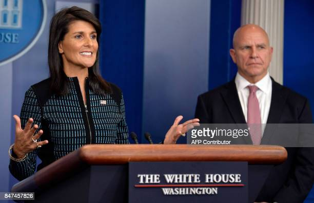 White House National Security Adviser HR McMaster looks on as UN Ambassador Nikki Haley speaks during the daily press briefing at the White House...