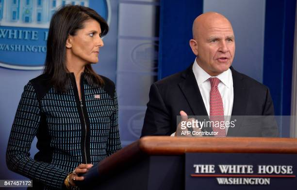 White House National Security Adviser HR McMaster speaks as UN Ambassador Nikki Haley looks on during the daily press briefing at White House...
