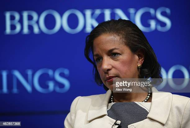 White House National Security Adviser Susan Rice speaks at the Brookings Institution February 6 2015 in Washington DC Rice participated in a...