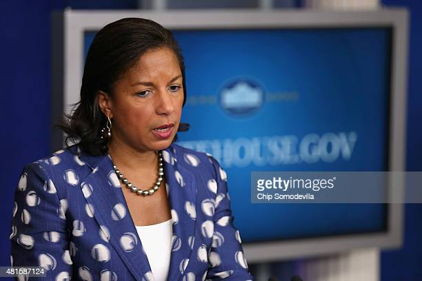 White House National Security Advisor Susan Rice briefs reporters about President Barack Obama's upcoming trip to Africa in the Brady Press Briefing...