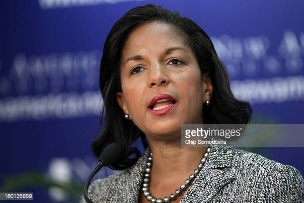 White House National Security Advisor Susan Rice delivers remarks about the Syrian government's alleged use of chemical weapons against its own...